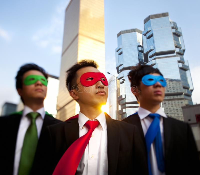 Asian business superheros, Hong Kong. royalty free stock photography