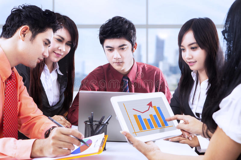 Asian business discussion at office royalty free stock photos