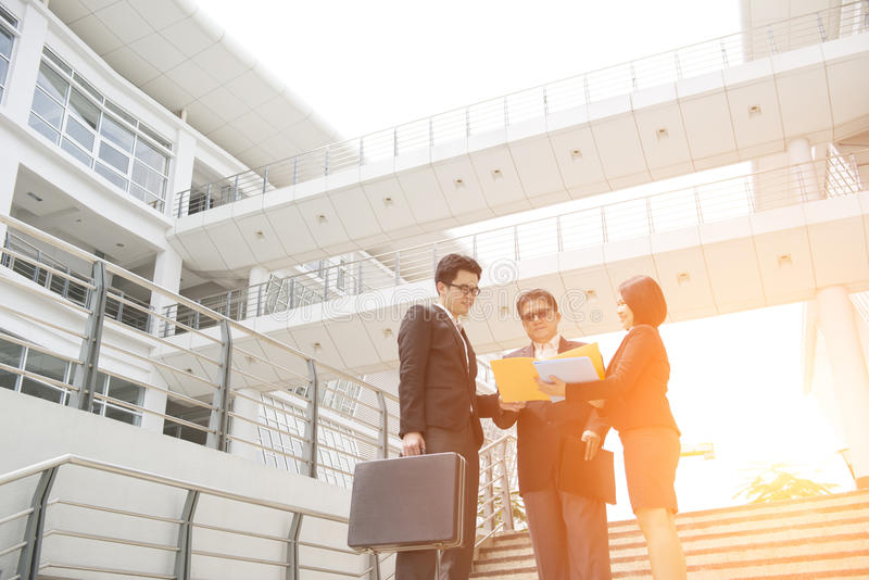 Asian business team outdoor stock images