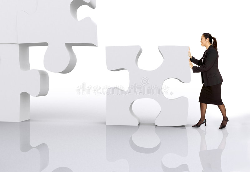Download Asian Business Woman Building A Puzzle Stock Photo - Image of colours, build: 1671180