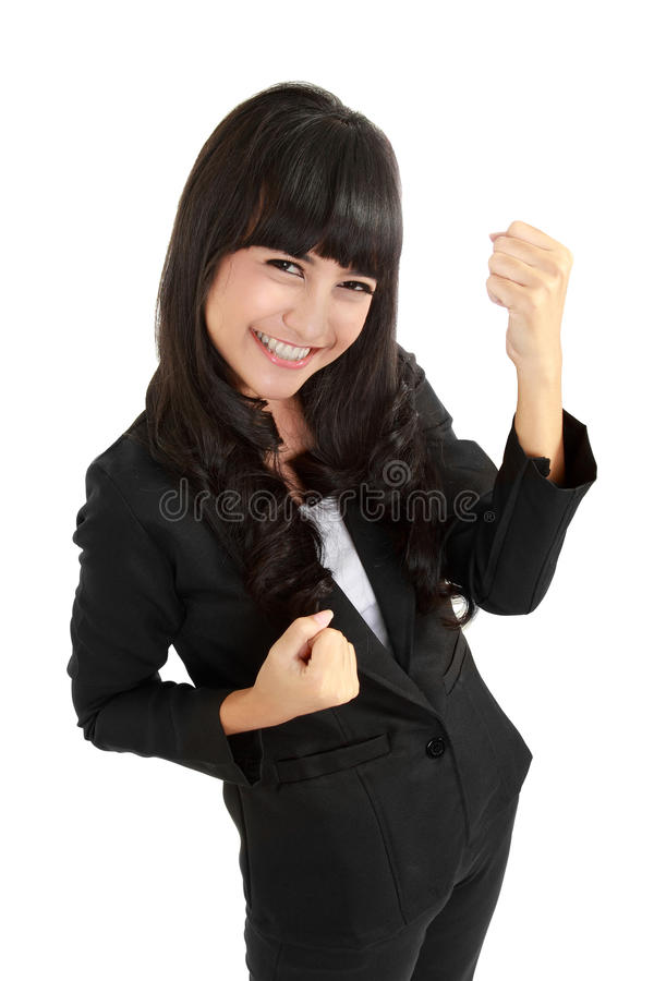 Asian business woman celebrating success royalty free stock photos