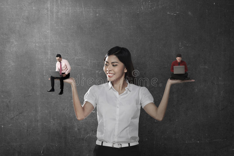 Asian business woman choose two man working royalty free stock images