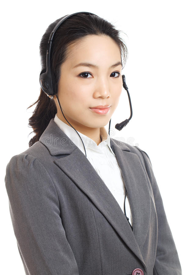 Asian business woman customer service. Isolated on white stock images
