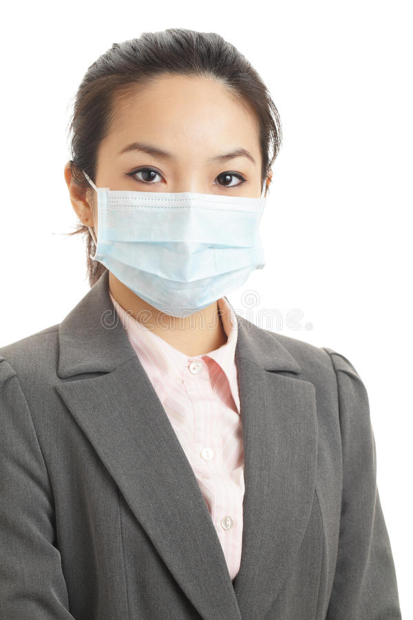 Asian business woman with face mask. Isolated on white royalty free stock images