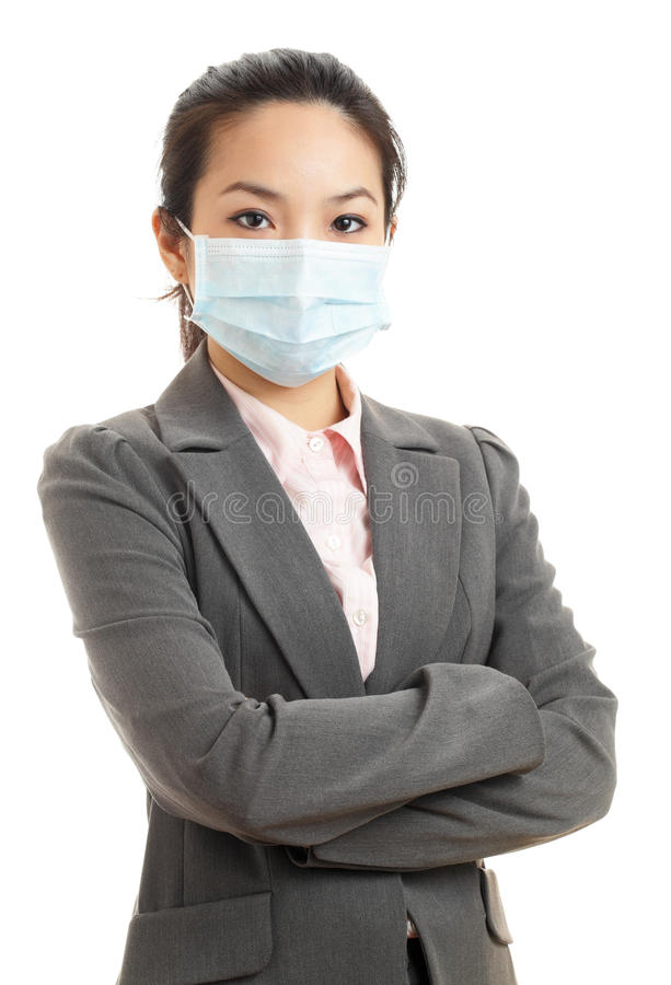 Asian business woman with face mask. Isolated on white background stock photography