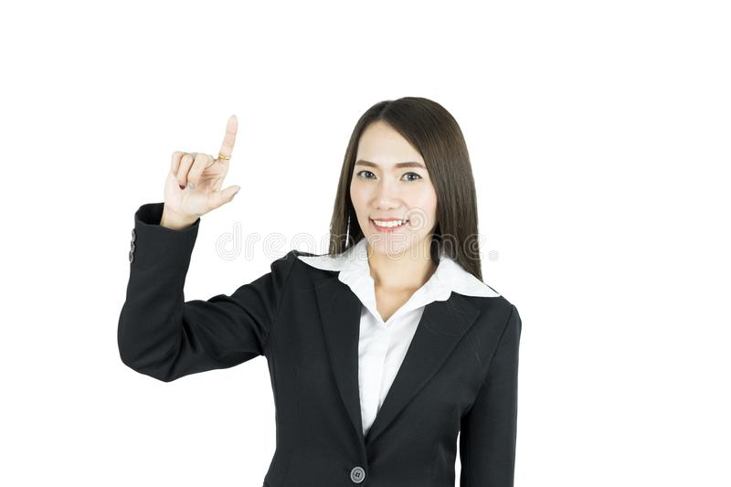 Asian business woman finger touching in the air. Digital hologram screen concept. royalty free stock image