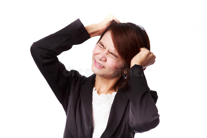 Asian business woman frustrated and stressed royalty free stock images
