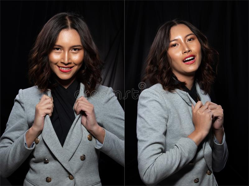 Asian Business Woman in gray Formal Suit. Collage group pack of Asian Business Woman portrait in gray Formal proper Suit with fashion make up and hair style stock image