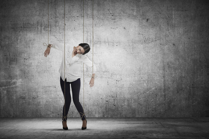 Asian business woman hace string attached on her body like mario royalty free stock photography