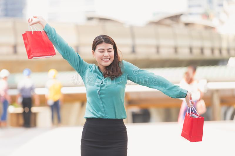 Business woman shopping stock photography