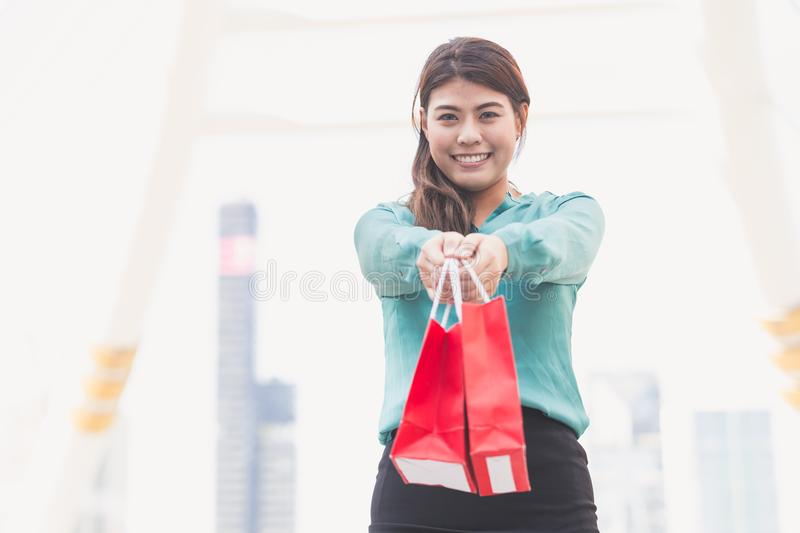 Business woman shopping stock photo