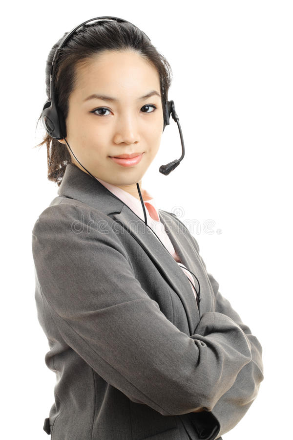 Asian business woman with headset. With white background royalty free stock photography
