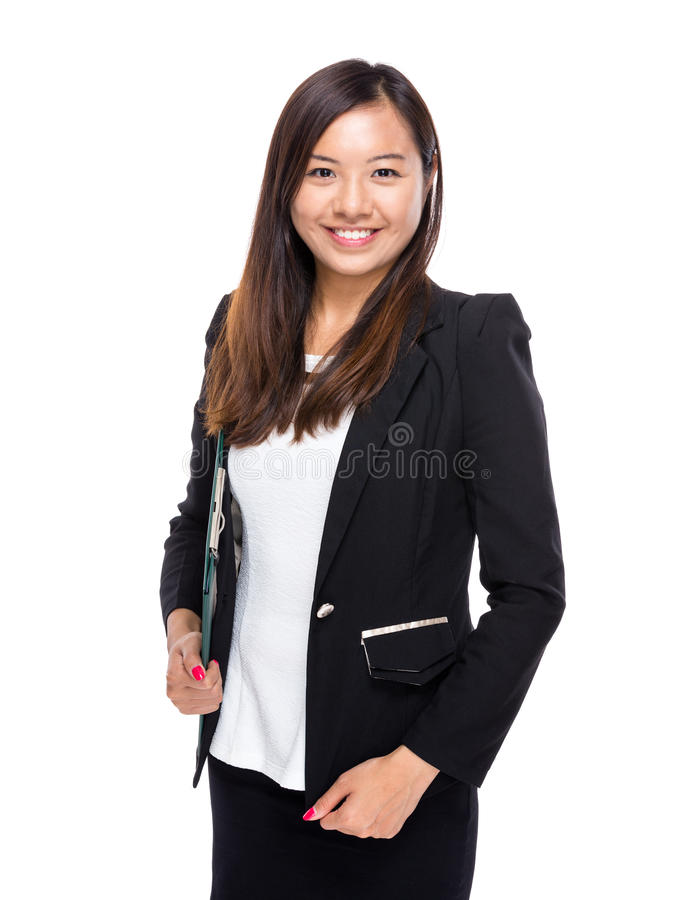 Asian business woman hold with clipboard stock images