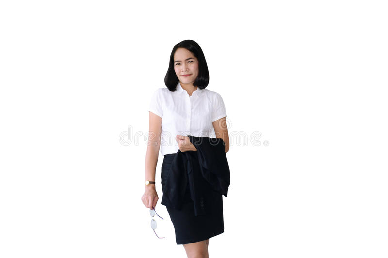 Asian business woman hold a glasses and black suit with simple p stock photo