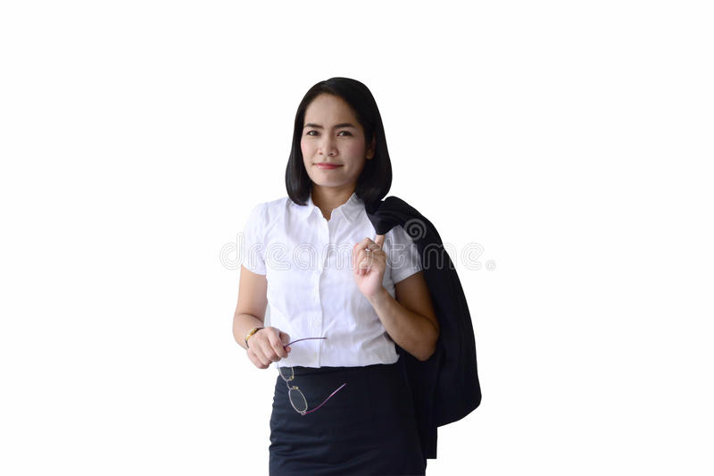 Asian business woman hold a glasses and black suit with simple p stock photography