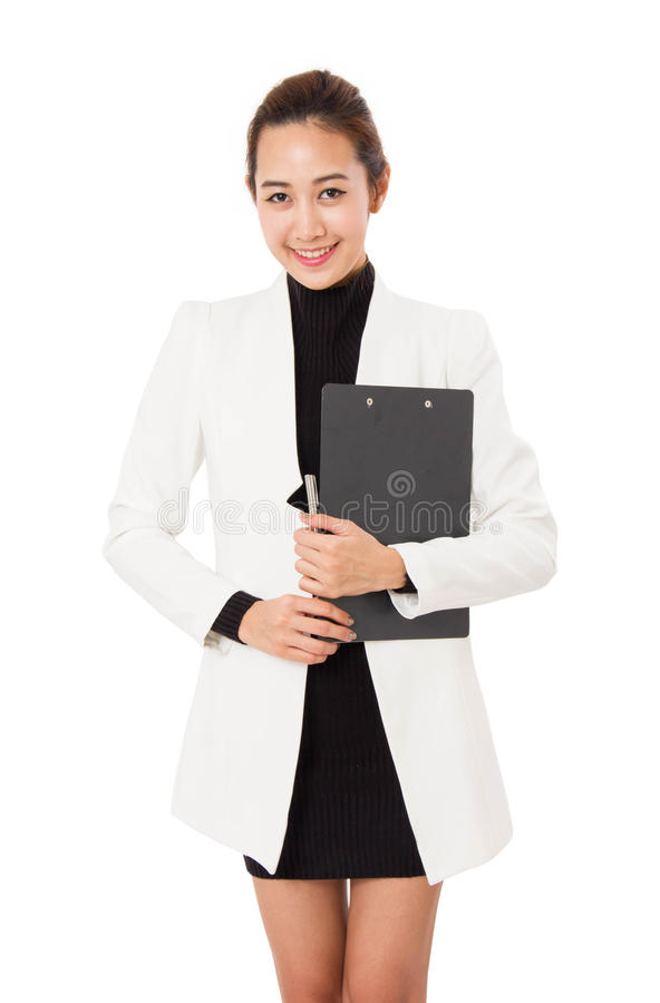 Asian Business Woman holding Clipboard. royalty free stock photo