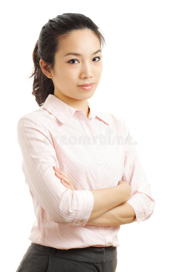 Asian business woman. Isolated on white royalty free stock image