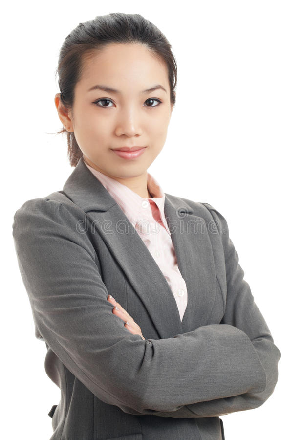 Asian business woman. Isolated on white stock photography