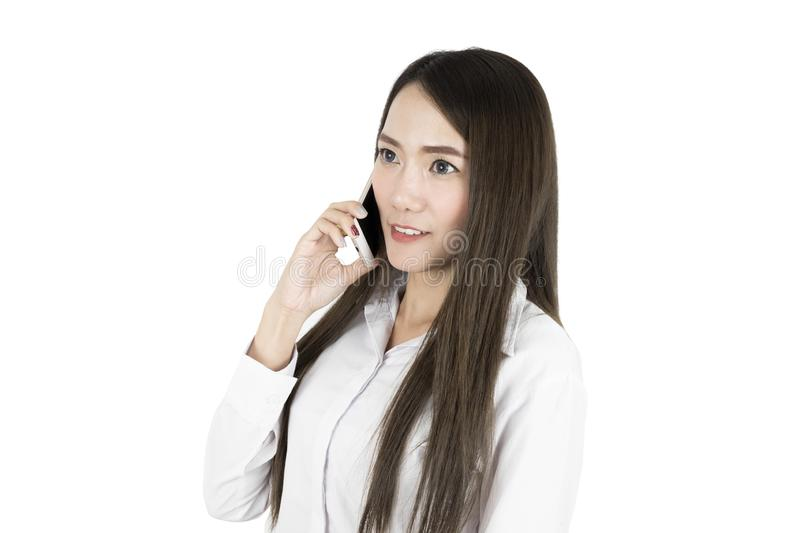 Asian business woman office worker communicating with mobile phone. Asian business woman office worker communicating with mobile phone isolated on white stock photos