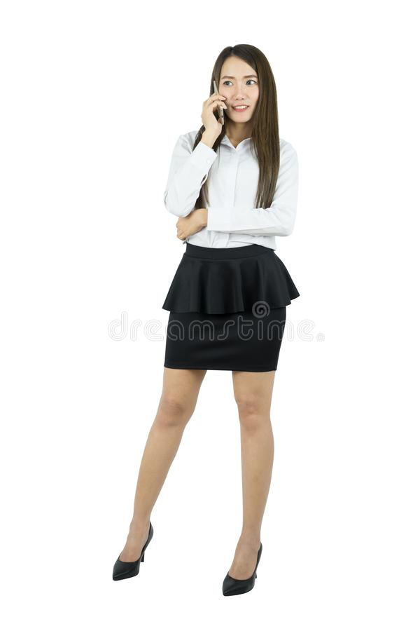 Asian business woman office worker communicating with mobile phone. Asian business woman office worker communicating with mobile phone isolated on white stock image