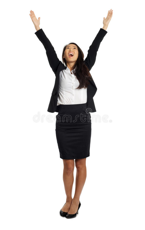 Asian Business Woman with open arms. Formal Asian Business woman cheering with open arms royalty free stock photography