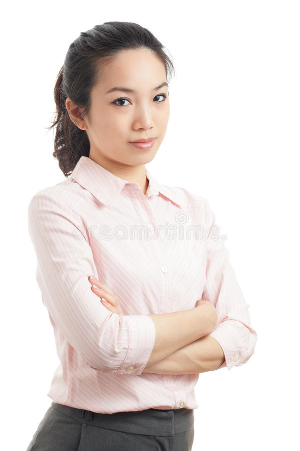 Asian business woman portrait. Isolated on white stock photos