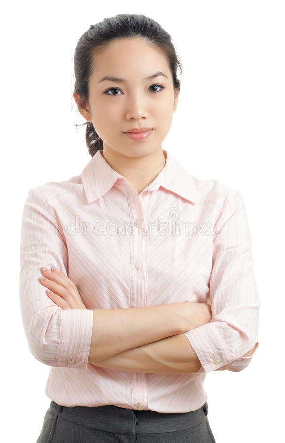 Asian business woman portrait. Isolated on white royalty free stock photo