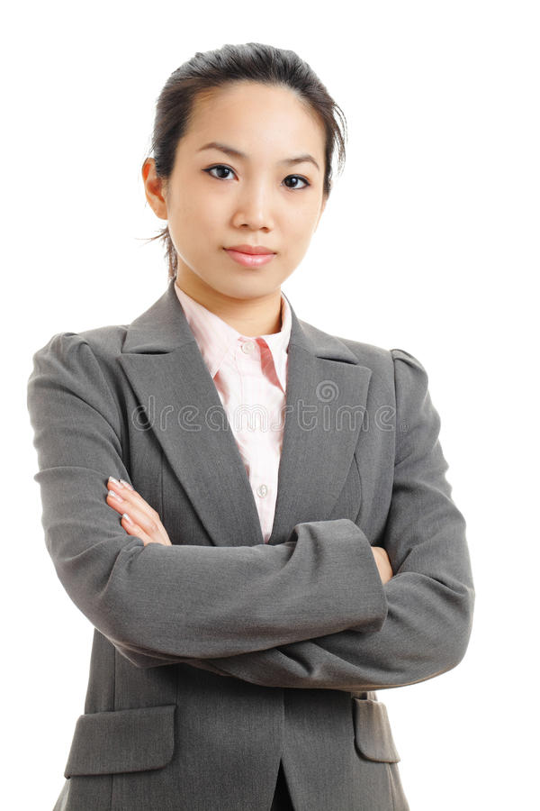 Asian business woman. Portrait with white background stock photos