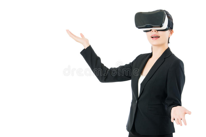 Asian business woman presentation project by VR headset glasses. Asian business woman presentation project by virtual reality. VR headset glasses device. white royalty free stock image