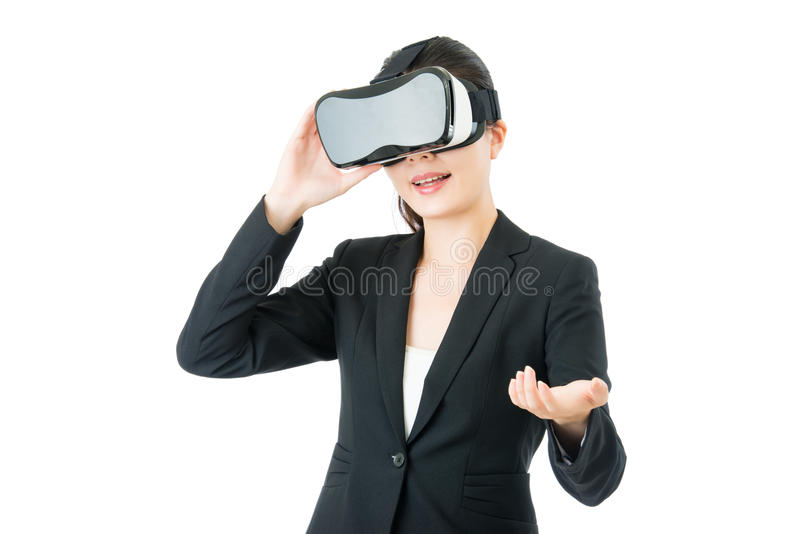 Asian business woman presentation project by VR headset glasses. Asian business woman presentation project by virtual reality. VR headset glasses device. white royalty free stock photo