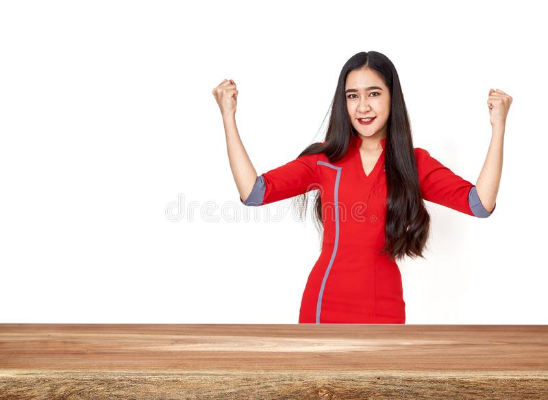 Asian woman with Empty wood table top royalty free stock image