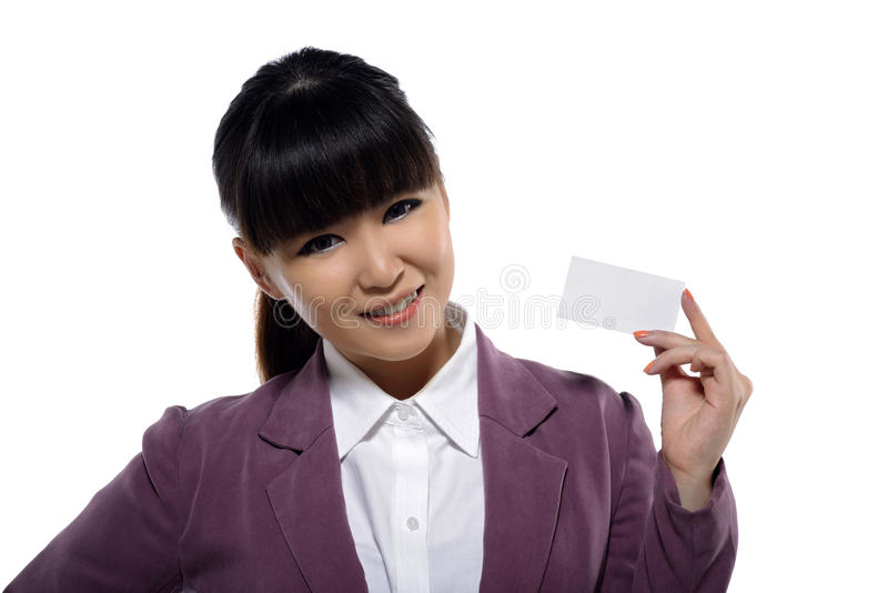 Asian Business Woman Showing Name Card. On white background. You can put your design on the card stock photography