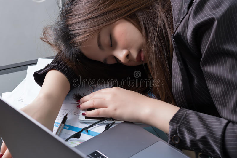 Asian business woman sleep royalty free stock image