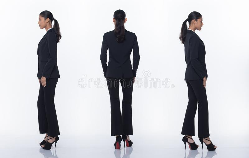 Asian Business Woman Stand in Black Formal Suit. Collage group pack of Full Length Snap Figure, Asian Business Woman Stand in black Formal proper Suit pants and royalty free stock photography