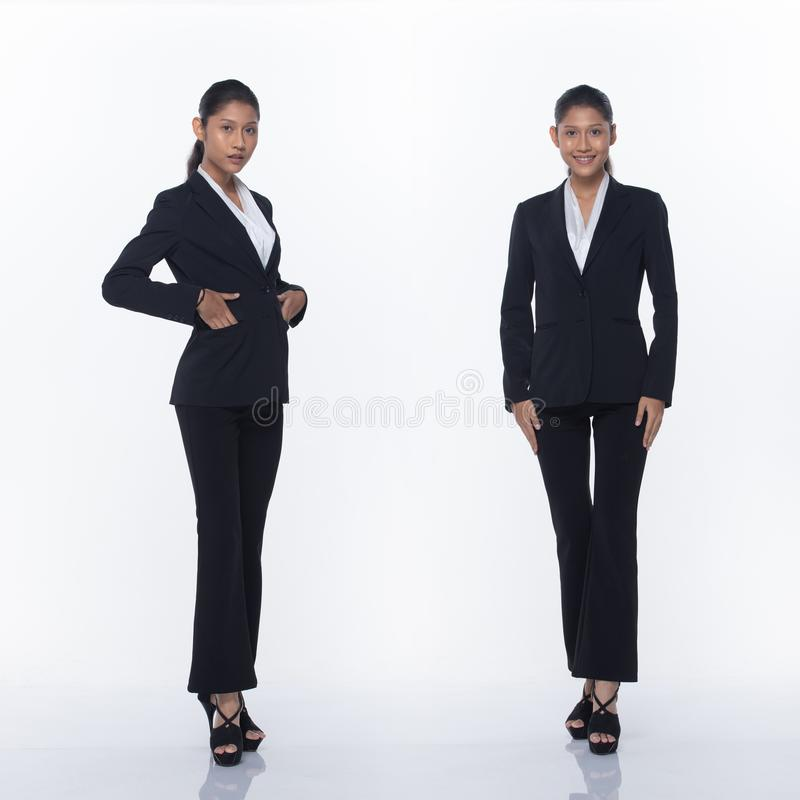 Asian Business Woman Stand in Black Formal Suit. Collage group pack of Full Length Snap Figure, Asian Business Woman Stand in black Formal proper Suit pants and royalty free stock photos