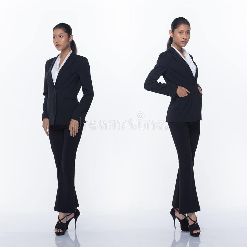 Asian Business Woman Stand in Black Formal Suit. Collage group pack of Full Length Snap Figure, Asian Business Woman Stand in black Formal proper Suit pants and stock image