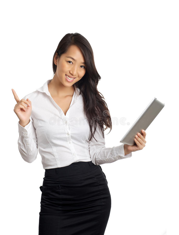 Asian Business Woman with tablet stock photography