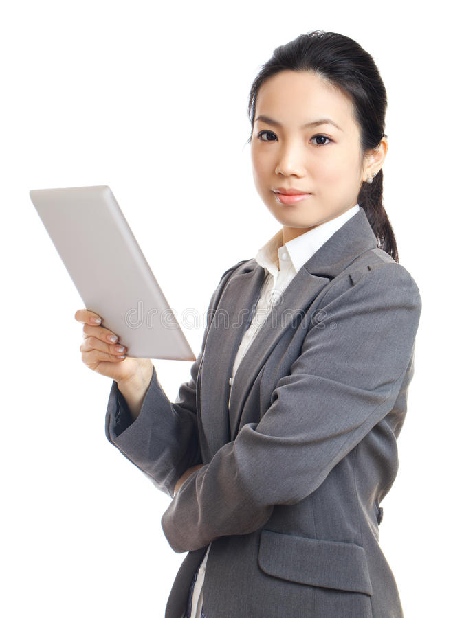 Asian business woman with tablet. Isolated on white royalty free stock images