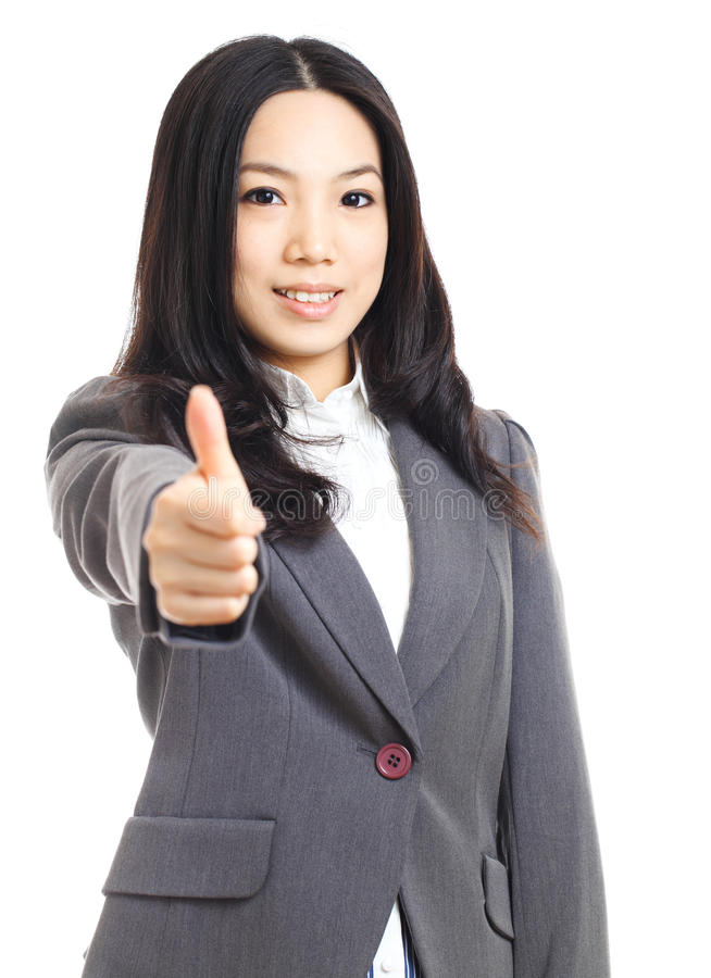 Asian business woman with thumb up hand. Isolated on white background stock image