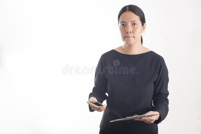Asian business woman use smart phone stock photography