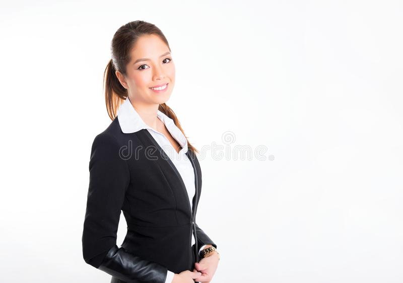Asian business woman on white background with copy space royalty free stock image