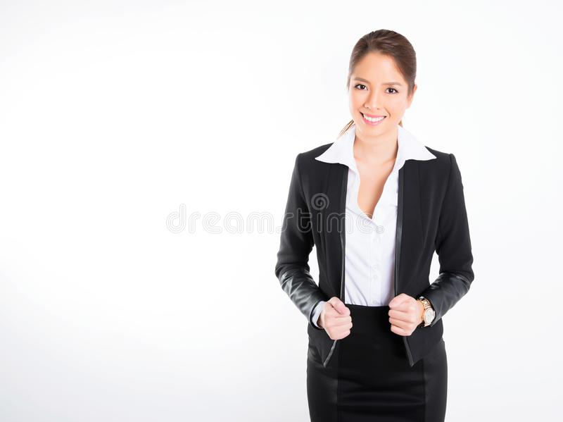 Asian business woman on white background with copy space royalty free stock photo