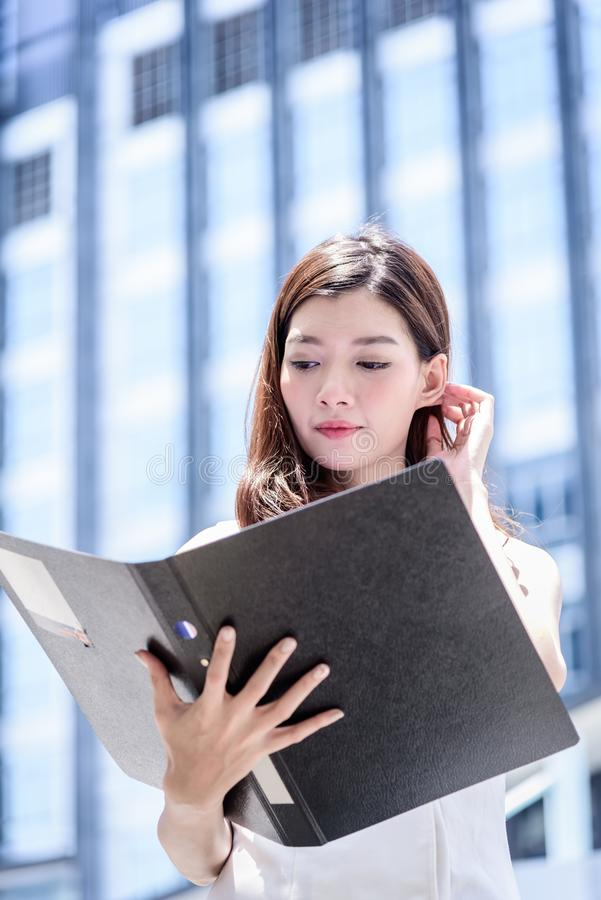 The asian business woman working and operation in outside office stock photo