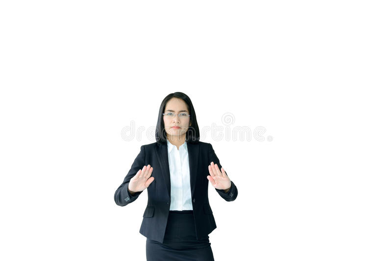 Asian business woman with working suit. In posture of decided stock photography