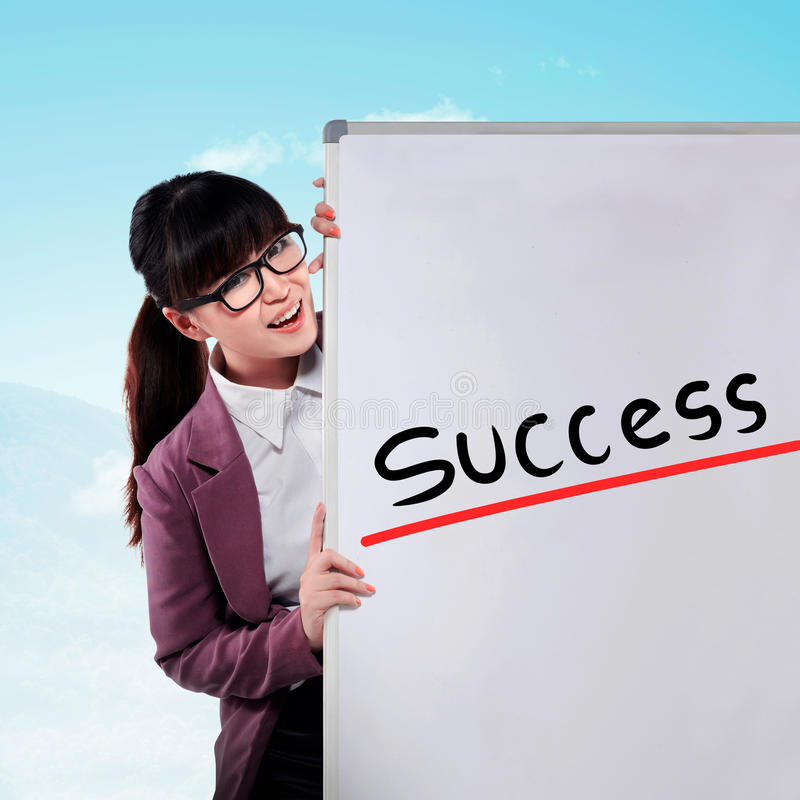 Asian business woman write success stock photography