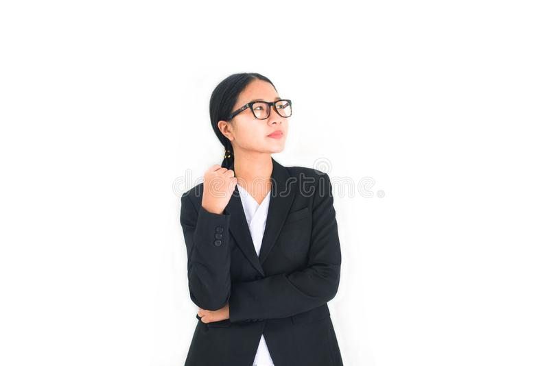 Asian business women confident on white background - Portrait young girl in eyeglasses with business woman uniform work stock image