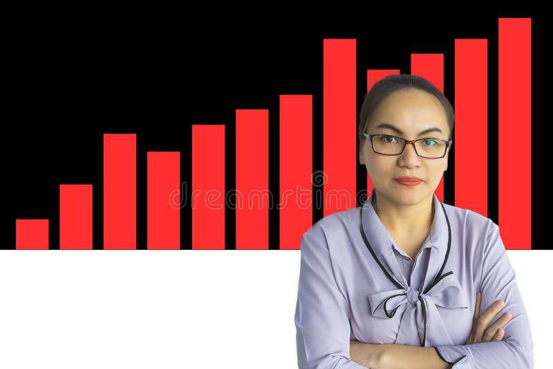 Asian business women with stock market for investment trading. Asian business woman with stock market for investment trading on black and white background royalty free stock photo