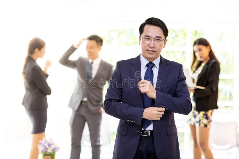 Asian businessman with business team royalty free stock images