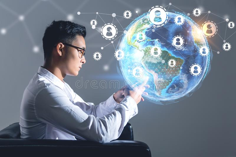 Asian businessman, global people network stock image
