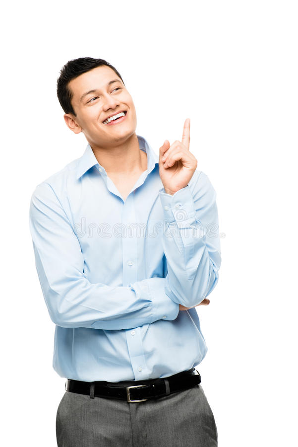 Asian businessman has idea isolated on white stock image